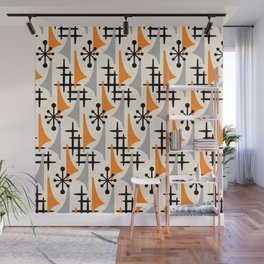Mid Century Modern Atomic Wing Composition Orange & Gray Wall Mural