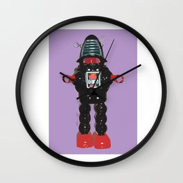 Robby Robot purple background Wall Clock