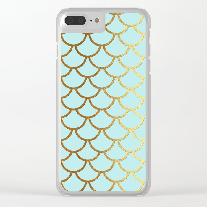Aqua Teal and Gold Foil MermaidScales - Mermaid Scales Clear iPhone Case