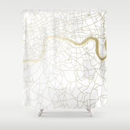 London White on Gold Street Map Shower Curtain