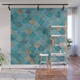 Moroccan Fish Scale Mermaid Pattern, Teal Blue and Gold Wall Mural