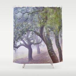 Cork oaks. Foggy sunrise at the mountains Shower Curtain
