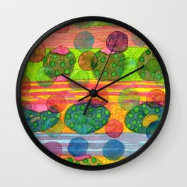 Round Shapes within and above horizontal Stripes Wall Clock