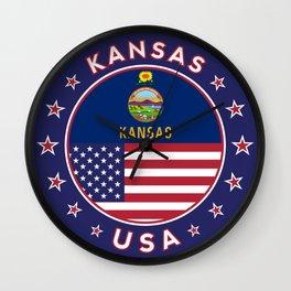 Kansas, Kansas t-shirt, Kansas sticker, circle, Kansas flag, white bg Wall Clock