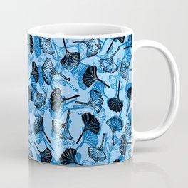 Ginkgo Biloba linocut pattern LIGHT BLUE Coffee Mug