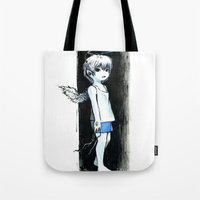 child Tote Bags featuring Child by Vagelio