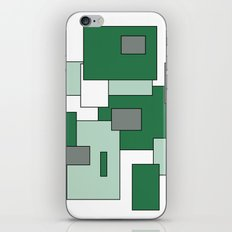 Squares - gray, green and white. iPhone & iPod Skin