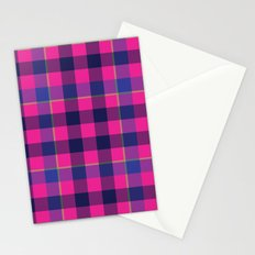 Pink and Navy Plaid Stationery Cards