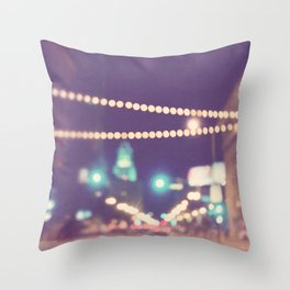 Downtown Los Angeles at night photograph. Sparkle No. 2 Throw Pillow