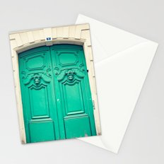Paris door, turquoise Stationery Cards