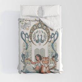 Every Girl Is A Princess 03: Arabian Nights Art Nouveau Aladdin's Princess Jasmine and Rajah Duvet Cover