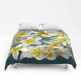 Plumeria on Blue Comforters