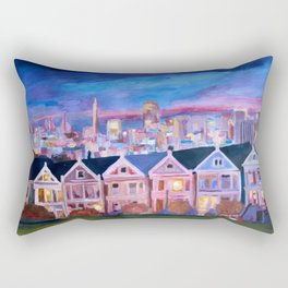San Francisco - Painted Ladies - Alamo Sq Rectangular Pillow