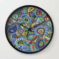 paisley Wall Clocks featuring paisley by Shanaabird
