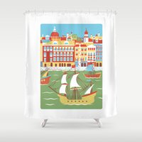 ariana grande Shower Curtains featuring Canal Grande by Jacopo Rosati