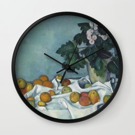 Still Life with Apples and a Pot of Primroses Wall Clock