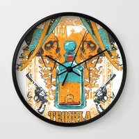 tequila Wall Clocks featuring Tequila Duel by Tshirt-Factory