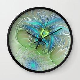 Flying Away, Abstract Shining Fractal Art Wall Clock