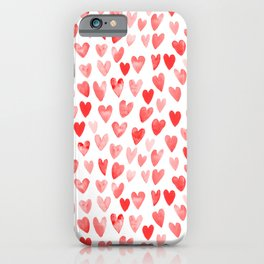 Watercolor heart pattern perfect gift to say i love you on valentines day iPhone Case