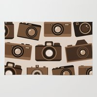 cameras Area & Throw Rugs featuring cameras (white) by vitamin