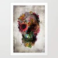 vintage floral Art Prints featuring SKULL 2 by Ali GULEC