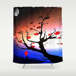 Japanese Maple Under Night Sky With Moon Shower Curtain