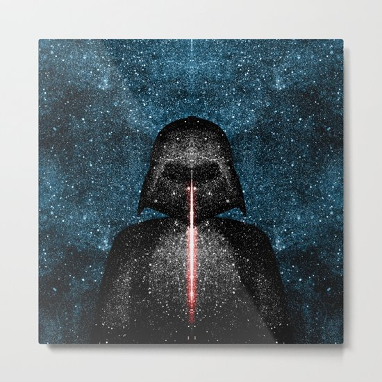 Darth Vader with Lightsaber in Galaxy Metal Print
