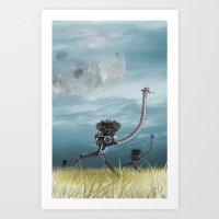 runner Art Prints featuring Runner by Tony Vazquez