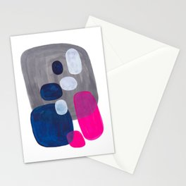 Mid Century Modern Minimalist Colorful Pop Art Grey Navy Blue Neon Pink Color Blobs Ovals Stationery Cards