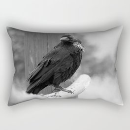 Raven on a Fence Black and White Rectangular Pillow