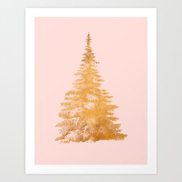 Christmas Tree Gold Art Print