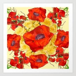 ORANGE POPPY FLOWERS GARDEN YELLOW ROSES ART Art Print