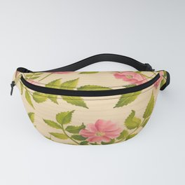 Pink Wild Rose on Wood Panel Fanny Pack