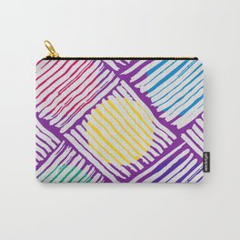 Purple Pattern with White Lines and Colors Circles Carry-All Pouch