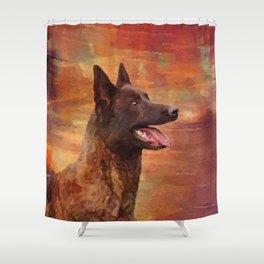 Dutch Shepherd - Dutchie Watercolor Shower Curtain