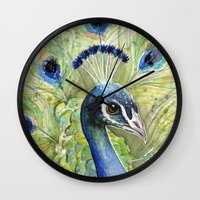 peacock Wall Clocks featuring Peacock by Olechka