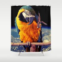 parrot Shower Curtains featuring Parrot by Cs025
