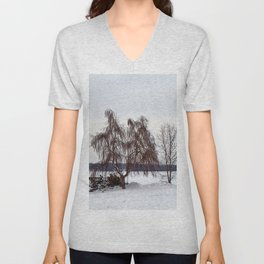 Weeping Willow on the Frozen Lake Unisex V-Neck