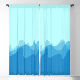 Wave pattern nature abstraction (blue) Blackout Curtain