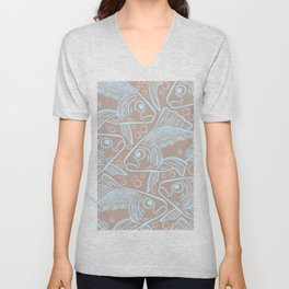 Ocean Fish with Bubbles Line Art in Muted Blue Brown Beige Unisex V-Neck