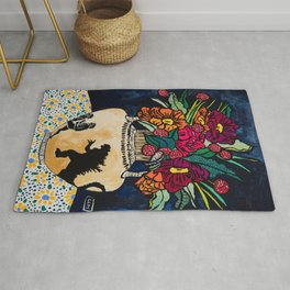 Godzilla Greek Urn with Peony Bouquet Winter Floral Still Life Painting Rug
