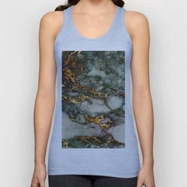 Gray Green Marble Glitter Gold Metallic Foil Style Unisex Tank Top