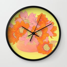 Orange and Pink Flowers Wall Clock