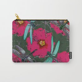 SHABBY CHIC BLUE DRAGONFLIES ON  FUCHSIA HOLLYHOCK FLOWERS Carry-All Pouch