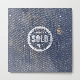 Blue Denim Jeans Texture Cool Fashion Fabric Print Metal Print