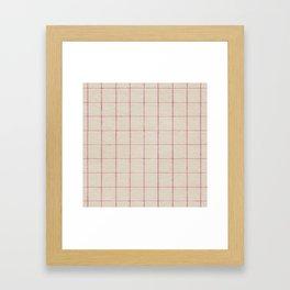 Geometric pink white vintage stripes pattern Framed Art Print