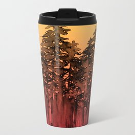 FOREST THROUGH THE TREES 12 Hot Pink Magenta Orange Black Landscape Ombre Abstract Painting Outdoors Travel Mug