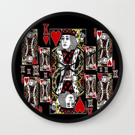 BLACK KING OF RED HEARTS CASINO CARDS Wall Clock