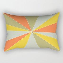 Retro 1960s Sun Rays Yellow Green Orange Rectangular Pillow