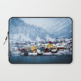 A Small Town in Norwegian Fjords Laptop Sleeve